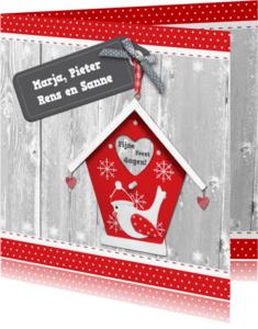 Kerstkaarten - Kerstkaart vogelhuisje en label