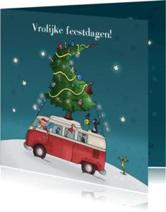 Kerstkaarten - Kerstkaart volkswagenbusje JB