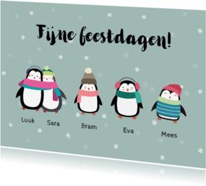 Kerstkaarten - Kerstkaart voor het hele gezin met penguins - SU