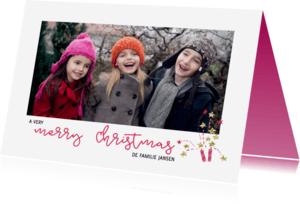 Kerstkaarten - Kerstkaart vuurwerk roze