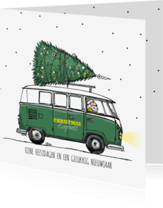 Zakelijke kerstkaarten - Kerstkaart VW bus groen met boom