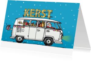 Zakelijke kerstkaarten - Kerstkaart vw bus wit av