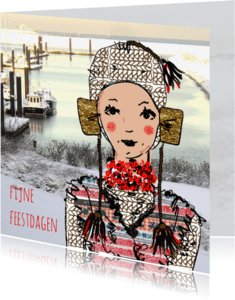 Kerstkaarten - Kerstkaart Zeeuws meisje bootjes