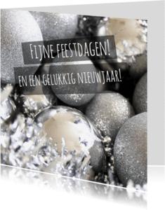 Zakelijke kerstkaarten - Kerstkaart zilveren kerstballen