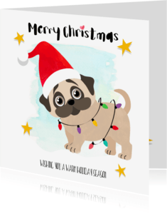 Kerstkaarten - Kerstkaartje pug gewikkeld in lichtslinger - SD