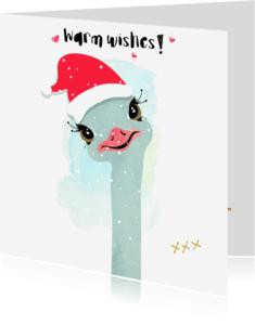 """Kerstkaarten - """"Kerstkaartje Struisvogel in de sneeuw - SD"""""""