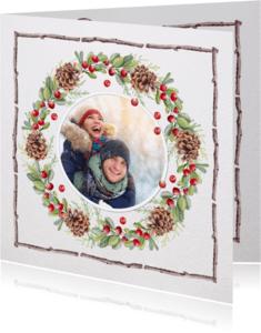 Kerstkaarten - Kerstkrans met houten kader -foto-