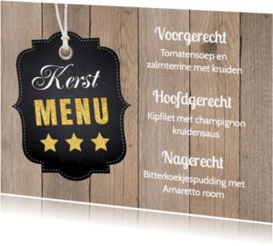 Menukaarten - Kerstmenukaart houtprint label - LB