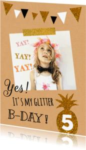 Kinderfeestjes - kinderfeest glitter ananas