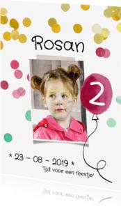 Kinderfeestjes - Kinderfeestje uitnodiging ballon roze