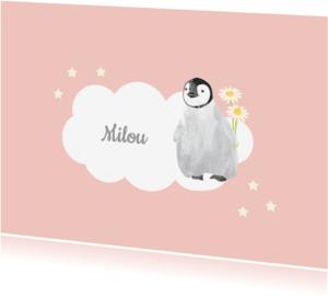 Rouwkaarten - Kinderrouwkaart meisje pinguin
