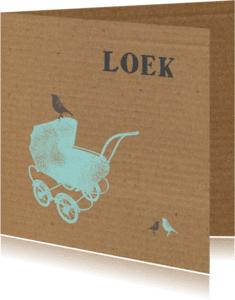Geboortekaartjes - Kinderwagen, karton jongen