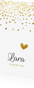 Geboortekaartjes - Klassiek geboortekaartje gouden hartjes