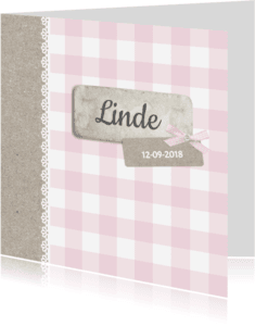 Geboortekaartjes - Klassiek roze ruitje strik
