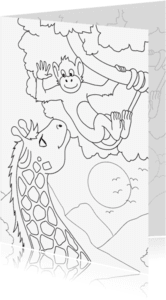 Kleurplaat kaarten - Kleurplaatkaart Aap en Giraffe - MT