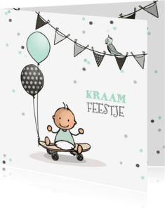 Uitnodigingen - Kraamfeestje jongen ballon