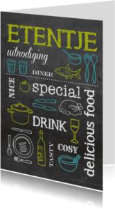 Uitnodigingen - Krijtbord etentje kleur