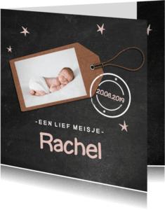 Geboortekaartjes - Krijtbord geboortekaartje Rachel