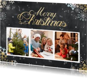 Kerstkaarten -  Krijtbord kerst 3 foto's - BK