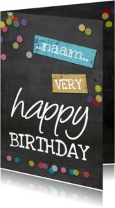 Verjaardagskaarten - Krijtbord met confetti