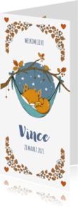 Geboortekaartjes - Langwerpig geboortekaartje jongen met slapend vosje