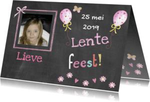 Communiekaarten - lentefeest meisje schoolbord