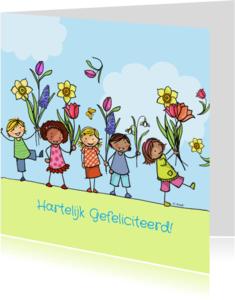 Verjaardagskaarten - Lentekaart kinderen met bloemen