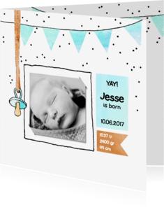 Geboortekaartjes - lief geboortekaartje jongen foto speen
