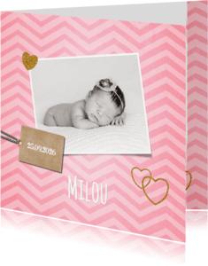 Geboortekaartjes - Lief hip roze zigzag streep geboortekaartje foto
