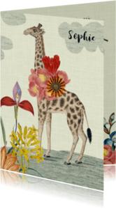 Geboortekaartjes - Lief vintage geboortekaartje met giraffe en bloemen