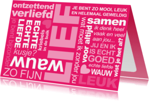 Liefde kaarten - Liefde Tekst Roze