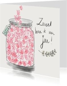 Liefde kaarten - Liefdeskaart Hartjes