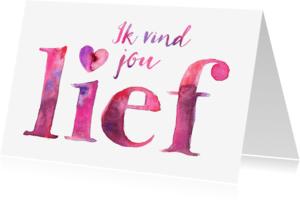 Liefde kaarten - Liefdeskaart waterverf letters
