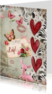 Vriendschap kaarten - Liefs hartjes en vlinders
