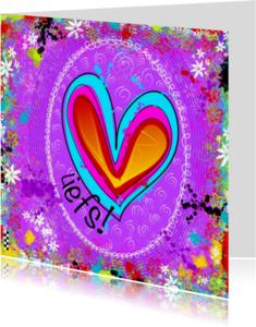 Vriendschap kaarten - Liefs kleurig hart