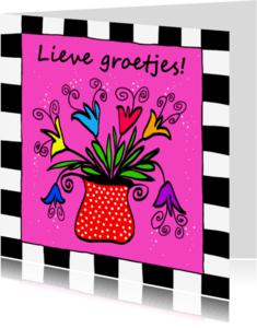 Vriendschap kaarten - Lieve groetjes tulpen