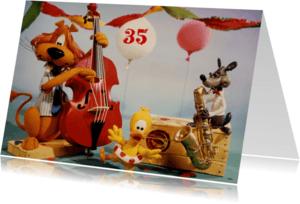 Verjaardagskaarten - Loeki de Leeuw feest muziek