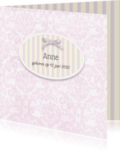 Geboortekaartjes - Meisje - barok met strik