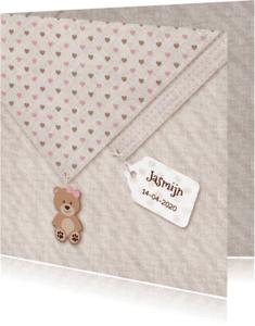 Geboortekaartjes - Meisje geboren linnen-print