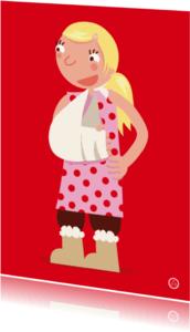 Beterschapskaarten - Meisje met een gebroken arm
