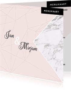 Menukaarten - Menukaart marmer geo roze en marmer