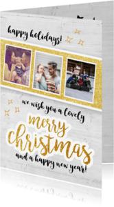 Kerstkaarten - Merry christmas - fotokaart met goud