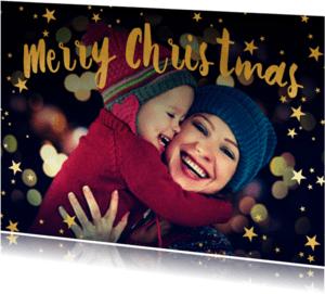 Kerstkaarten - Merry Christmas geel 1 foto - BK