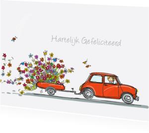 Verjaardagskaarten - Mini Cooper rood bloemen