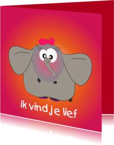 Liefde kaarten - Mo Card olifant verliefd kaartje