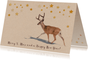 Kerstkaarten - Moderne kerstkaart met hert en sterren