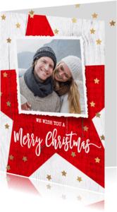 Kerstkaarten - Moderne kerstkaart rode ster hout