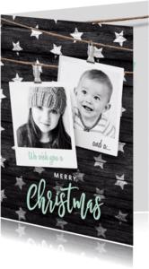 Kerstkaarten - Moderne kerstkaart sterren polaroids
