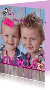 Moederdag kaarten - Moederdag fotokaart bloemen bij