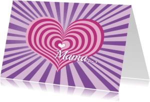 Moederdag kaarten - Moederdag kaart hart streep